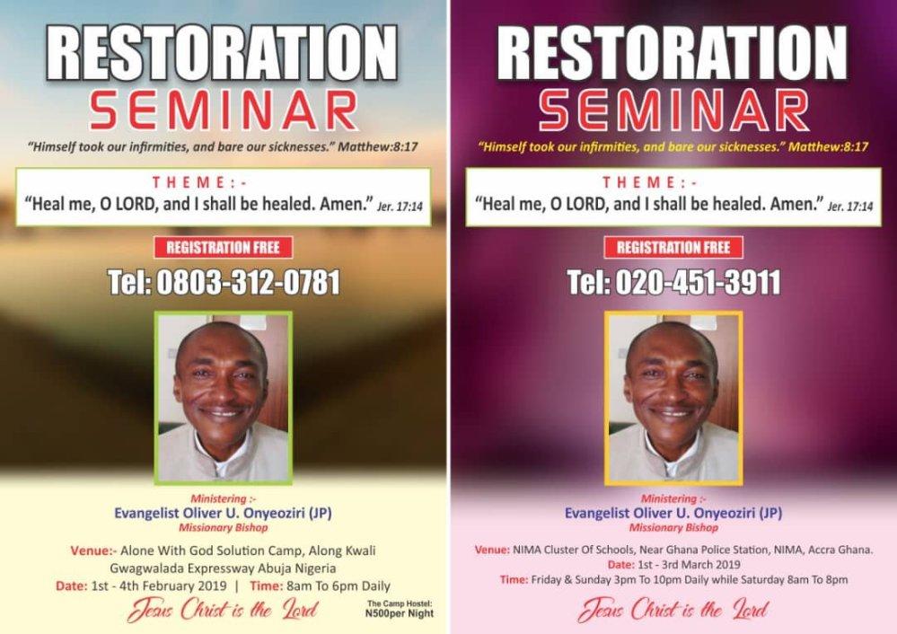Jesus In My Life = 2019 Restoration Seminar For Terminal